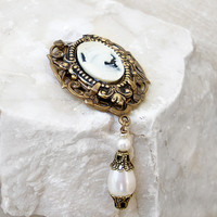 Brass Brooch with White Cameo and Pearls