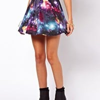 ASOS Skater Skirt in Galaxy Print at asos.com