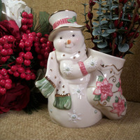 LENOX Porcelain SNOWMAN Stocking Figurine Winter Vase Candy Cane Dish Pink Green Pearly White Cabachons 22k Gold Trim Christmas Keepsake