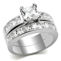 Women's 316L Stainless Steel Princess Cut CZ Solitaire Wedding & Engagement Ring Set