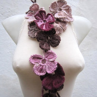 Handmade crochet Lariat Scarf  Brown Pink Burgundy  Flower Lariat Scarf Colorful Variegated Long Necklace  winter fashion