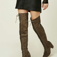 Lace-Up Thigh-High Boots