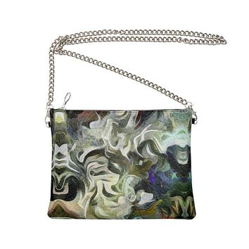 Abstract Fluid Lines of Movement Muted Tones High Fashion Crossbody Bag With Chain by The Photo Access