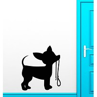 Vinyl Wall Decal Silhouette Puppy Little Dog Leash Chihuahua Stickers Unique Gift (2062ig)