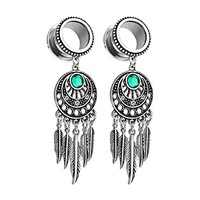 BodyJ4You Pair Surgical Steel Screw-Fit Tunnel Dream Catcher Dangle Tribal Plug 00G (10mm) Gauges