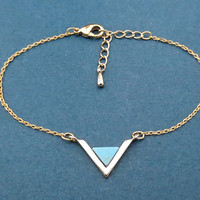 Triangle, Turquoise, Gold, Silver, Bracelet, Birthday, Best friends, Sister, Gift, Jewelry