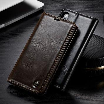 Flip Leather Wallet case for iPhone X