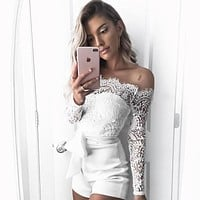 Off Shoulder Lace Romper Jumpsuit Bodysuit