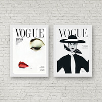 Vogue Prints Mid Century Magazine Covers From 1950 Art