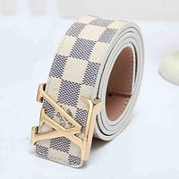 LV Louis Vuitton Woman Men Fashion Smooth Buckle Leather Belt DCCK
