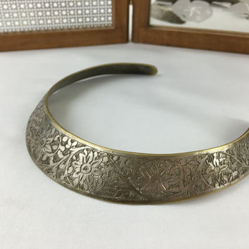 Hand Etched Silver & Brass Floral Choker Bohemian Tribal Choker Necklace Made in India Boho Chic Thick Metal Indian Choker