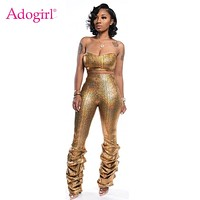 Adogirl Gold Snakeskin Print Women Sexy Two Piece Set Strapless Tube Top Ruched Skinny Pants Night Club Suit Party Outfits