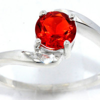 1 Carat Orange Citrine Round Ring .925 Sterling Silver Rhodium Finish White Gold Quality