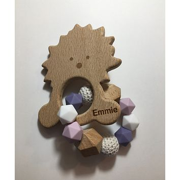 Engraved Personalized Large Hedgehog Montessori Wooden Teether Rattle Organic Wood Teething Ring Gift for Baby Shower