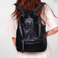 vintage womens black leather Backpack school backpack messenger shoulder Bag