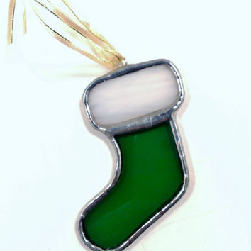 Green Stocking Stained Glass Christmas Ornament, Free Shipping