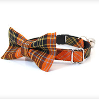 "Bow Tie Cat Collar Set - ""Hocus Pocus"" - Orange Plaid Collar + Matching Detachable Bow Tie"