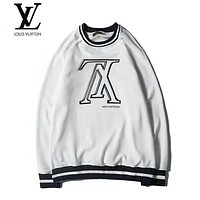 LV Louis Vuitton Trending Women Men Stylish Letter Print Long Sleeve Round Collar Sweater Top Sweatshirt White