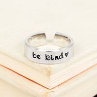 Be Kind Ring - Heart - Adjustable Aluminum Cuff Ring