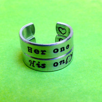 Her one His Only  Hand Stamped Couple by LaurenElaineDesigns