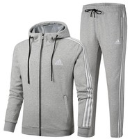 ADIDAS autumn and winter new men's hooded cardigan sweater casual sports pants two-piece Grey