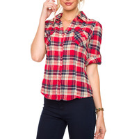 Pretty In Plaid Top - Red