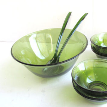Vintage Olive Green Salad Bowl 9 Piece Set