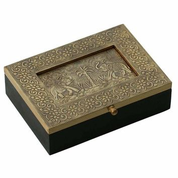 Handmade Jewelry Box In Wood With Brass Sheet Embossed On Lid By Benzara