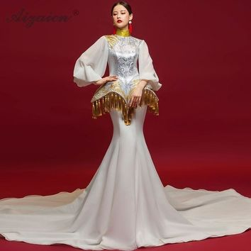 Vintage Chinese Long Bell Sleeve Trailing Tassel Embroidery Cheongsam White Mermaid Wedding Dress
