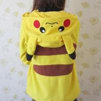 Anime Animal Women Men Cute Pokemon Pikachu Hooded Jacket Yellow Hoodie with Ears Polar Fleece Winter Hoody Plus Size Outwear = 1932210052