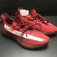 Adidas Yeezy Boost 350 V2 Fashion Burgundy Running Sport Shoes Sneakers Shoes