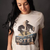 """Gina """"End of Trail Motel"""" Embellished Military Green Bleached Tee"""