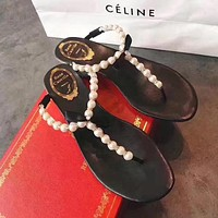 Rene Caovilla Fashion Women Casual Pearl Beach Sandals Slippers Shoes Black