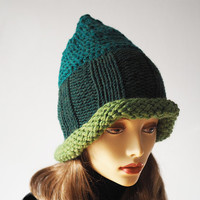 Ready to ship - Fashion knit hat - Emerald & hunter green hat - Crocheted elf hat - Womans chunky knit hat - Warm winter hat - Teen girl hat