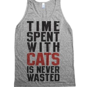 Time Spent With Cats Is Never Wasted-Unisex Athletic Grey Tank