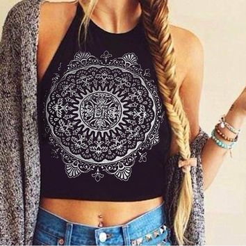Personality Pattern Print Halter Vest Tank Top Camisole