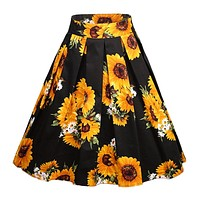 A-Line Printed Pleated Flared Midi Skirts, Sun Flowers, Sizes Small - 3XLarge