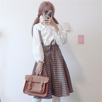 Japanese Strap Plaid Women Dress For Spring And Summer Sleeveless Mori Girl Bandage Elegant Retro Dress