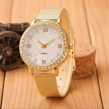Casual Watch Quartz Watches Women Analog Steel Watches Relogio Feminino Crystal Roman Numerals Gold Mesh Clock Hour CF