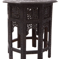 Carved Wood Asian Hexegon Side Table