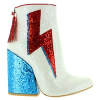 YRU Ziggy - White Multi-Glitter Thunderbolt Heel Boot