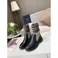 dior trending womens black leather side zip lace up ankle boots shoes high boots 77