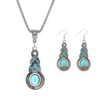Fashion Jewelry Sets Tibetan Turquoise Chain Necklace And 925 Silver Water Drop Shaped Stud Earrings