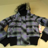 OP Hooded Bomber Jacket Faux Wool Female Small 3/5 Purples Plaids & Checks -- New With Tags