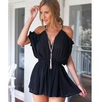 Fashion Sexy Spagehetti Strap V Neck Erotic Romper Shorts Trousers Pants _ 10677