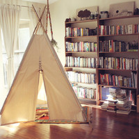 8ft Giant Canvas Kids Teepee - Fold Away Tepee With Bamboo Poles - Handmade Children's Play Tent