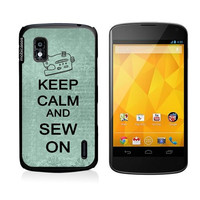 Keep Calm And Sew On Teal Floral Google Nexus 4 Case - For Nexus 4