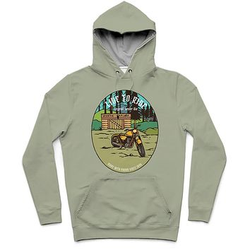 Live To Ride Trendy All-Over Print Solid Bud Hoodie