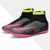 New Men's Youth Soccer Indoor Shoes TF Turf High Top Soccer Cleats Football Trainers Sports Sneakers Shoes
