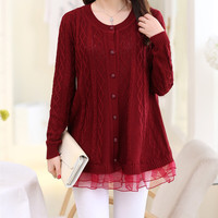 Cable Knit Cashmere and Lace Button Up Sweater